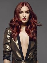Mahogany red long hair with steps