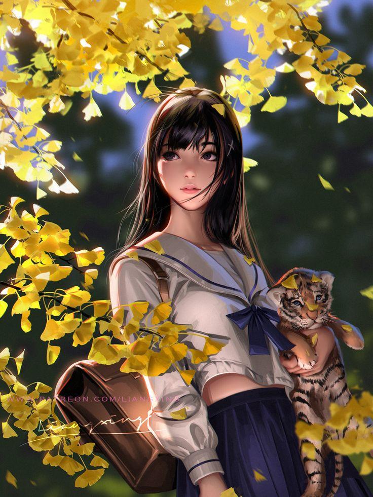 Autumn by LiangXing on DeviantArt in 2020 Girl falling