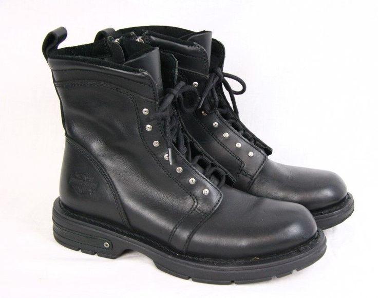 HARLEY DAVIDSON Black Leather Zip Lace up Studded Motorcycle Biker Boots Men 9.5 #HarleyDavidson #Motorcycle