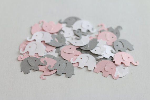 Light Pink Elephant Baby Shower Confetti by 2BoredMomsCreations