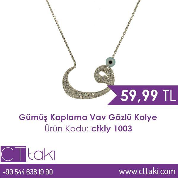Gümüş Kaplama Vav Gözlü Kolye. 59.99 TL fiyatı ile CT Takı'da. #gümüş #kaplama #vav #göz #kolye #takı #fiyat #takıdünyası #cttakı