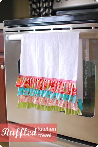 DIY::Ruffled Kitchen Towel. hey Mom?;)