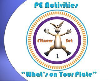 "The following fitness activity, ""What's on Your Plate""- Fitness Set 1 is a ""high energy, fun and organized"" PE large or small group movement mini-lesson"