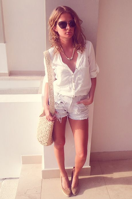 Millie Mackintosh style diary  SUNGLASSES – MIU MIU  SHIRT – ZARA  SHORTS – BAMBI AND MANSON  SHOES – PIED A TERRE  NECKLACE – ACCESORIES  BAG – HELEN KAMINSKI