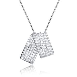 Collette Z Sterling Silver Cubic Zirconia Fold Over Necklace