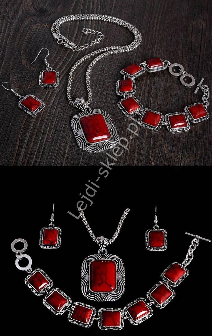 Jewelry set with red stones. Bracelet, earrings, necklace. Zestaw, elegancki naszyjnik z kamieniem, kolczyki i bransoletka , posrebrzany