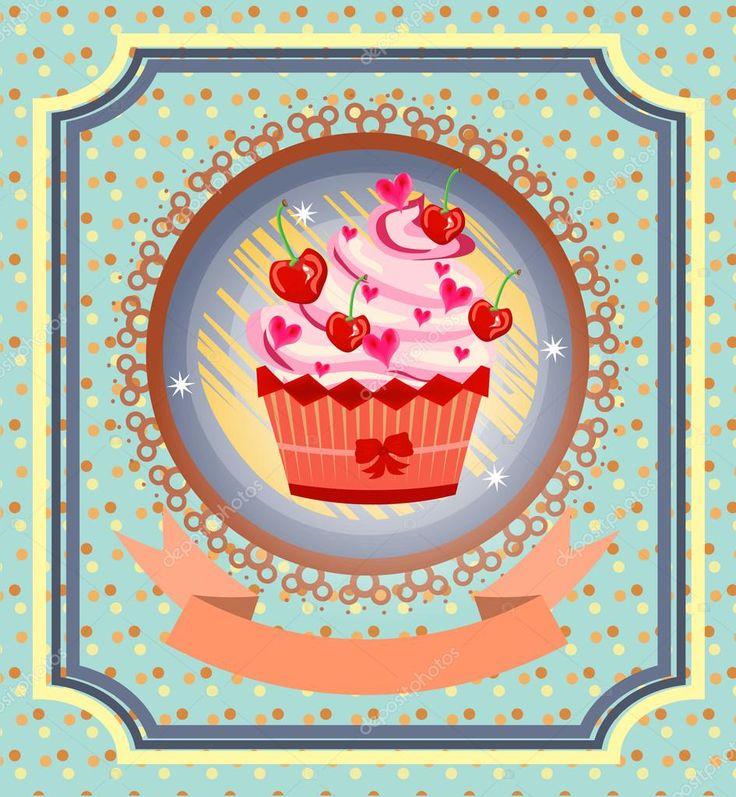Baixar - Cartão vintage com cupcake com cerejas vermelhas, arco, corações rosa, pontilhada de fundo, padrão, design retro — Ilustração de Stock #69265693