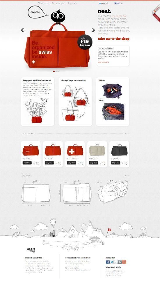 Homepage idea - large canvas bag product photo accompanied with introductory text with products below.