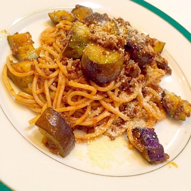 コリコリの茄子で! - 48件のもぐもぐ - ナスのミートスパゲティ by yumenimishi101