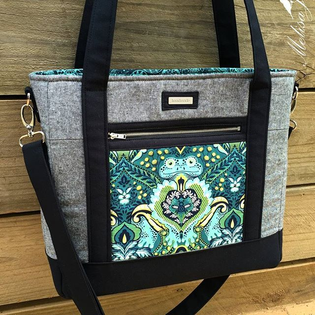 This TudorBag was made by melisajanehandmade with an OOP tulapink fabric. What a great idea to use a small amount of feature fabric!