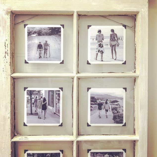 Recycle an old window pane into a beautiful vintage-looking photo display.