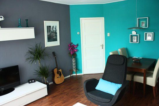 Turquoise room would love this for the craft room crafty spaces pinterest grey walls - Color piedra pintura pared ...