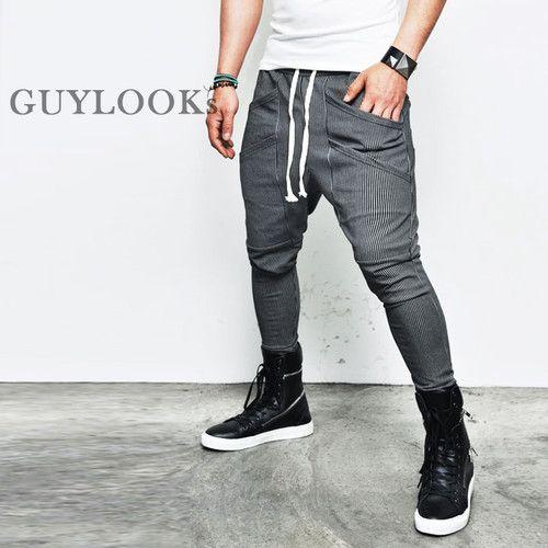 Mens Ankle Length Double Pocket Drop Crotch Stripe Baggy Sweatpants by Guylook | eBay