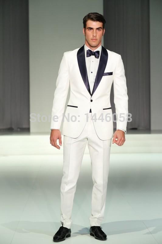 >> Click to Buy << Ternos Masculino 2015 Popular Custom Made Groom Tuxedos White Jacket Black Lapel Groomsmen Men Wedding Suits(Jacket+Pants+Tie) #Affiliate