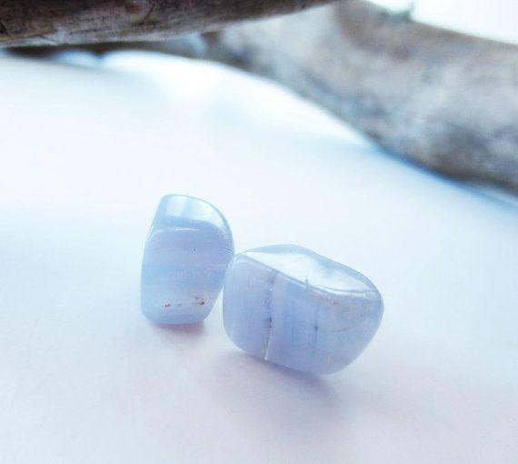 Blue lace agate earrings. Light blue stone by LittleBearsMom