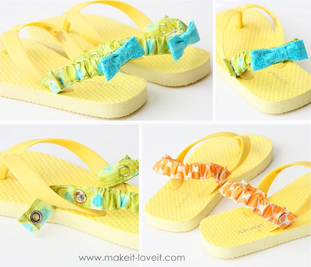 Interchangeable Flip-Flop Back Straps--make basic colored sandals, then elastic straps--use velcro instead of snaps. Great instructions!