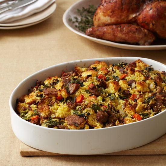 Corn Bread Stuffing with Country Sausage   This sausage dressing contains buttery corn bread, hearty country sausage and poblano chiles. It makes a great accompaniment to turkey and holiday roasts.