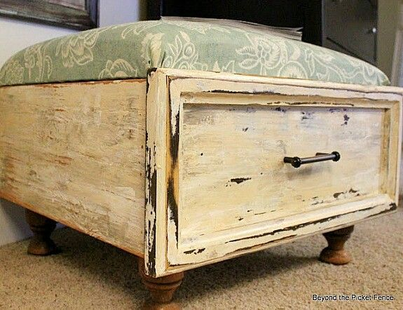 An old drawer, 4tabke stands ,a cusion ...voilà a foot rester or add a glass and you have a coffee table