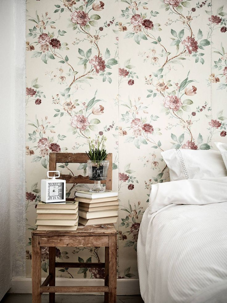 papel pintado floral estilo rústico francés estilo nórdico cottage decoración textiles decoración floral decoración en blanco decoración campestre Casita de campo blog decoración nórdica