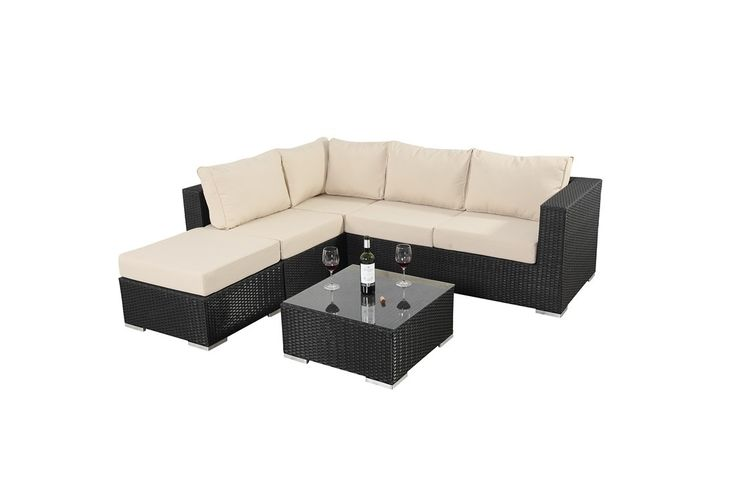 http://www.bonsoni.com/bonsoni-small-corner-sofa-colour-black-consists-of-two-modular-two-seater-sofas-and-a-footstool-rattan-garden-furniture-1  Sets are finished with light natural beige cushions and brushed aluminium effect feet.  http://www.bonsoni.com/bonsoni-small-corner-sofa-colour-black-consists-of-two-modular-two-seater-sofas-and-a-footstool-rattan-garden-furniture-1