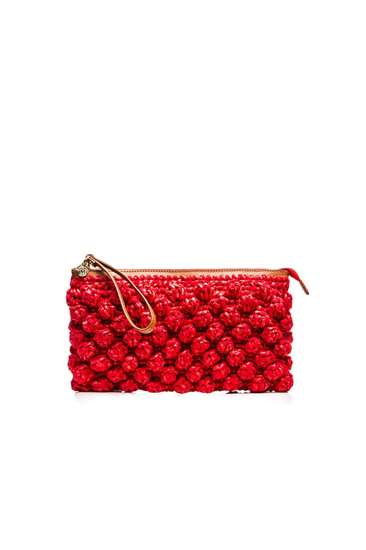 M-Missoni - RED RAFFIA CLUTCH