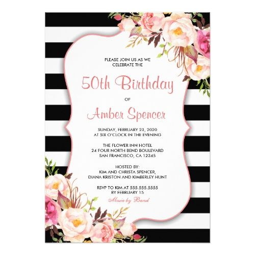 Best Watercolor Birthday Invitations Images On Pinterest - Black and white striped birthday invitations