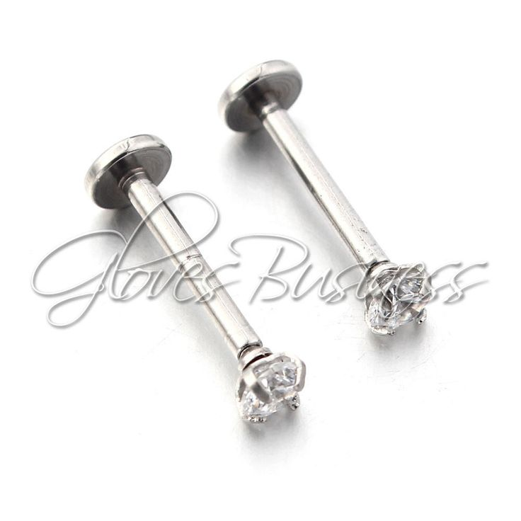 2pcs Surgical Steel Cz Labret Lip Ring Lip Piercing Jewelry Tragus Nail Lip Stud #Unbranded
