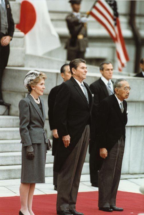 First Lady Nancy Reagan, President Ronald Reagan, and Emperor Showa (Hirohito), Tokyo, Japan, 9 Nov 1983