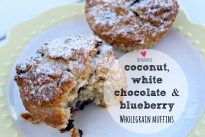 These Thermomix coconut, white chocolate and blueberry wholegrain muffins are delicious and the fruit and wholegrain flour makes them perfect little (almost) healthy snacks.