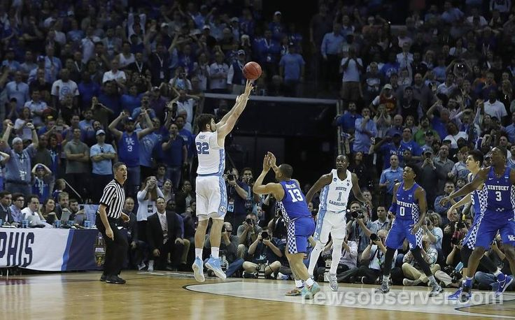North Carolina's Luke Maye (32) hits the game winning shot during the second half of UNC's 75-73 victory over Kentucky in the NCAA Tournament South Regional final at FedExForum in Memphis, TN Sunday, March 26, 2017.