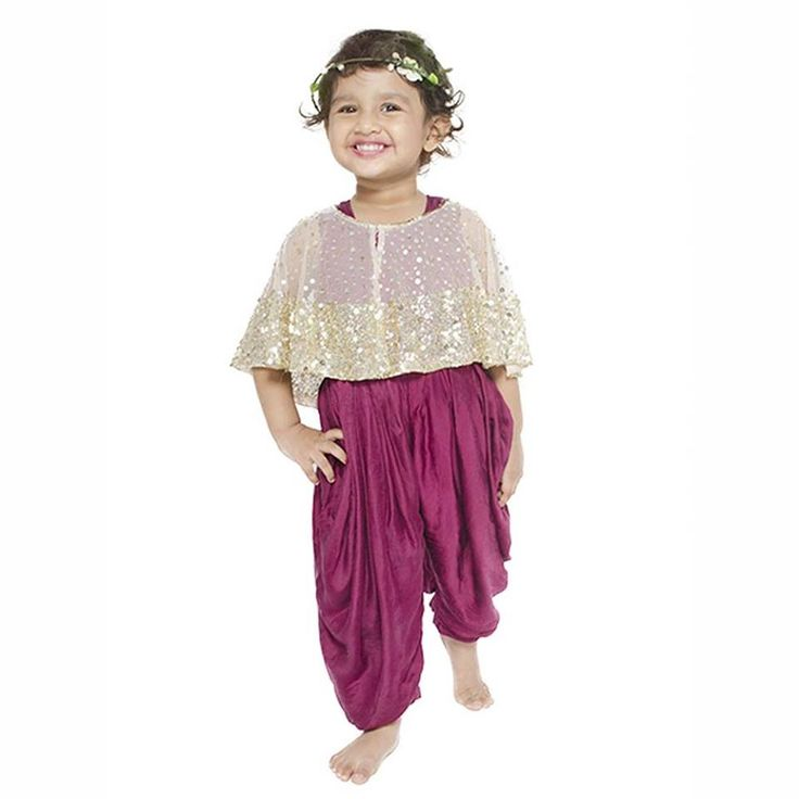 Cool and effortless will be the look once your little doll is dressed in this purple satin one piece dhoti pants style outfit. #information #buy #free #online #shopping #shipping #discount #details #shop