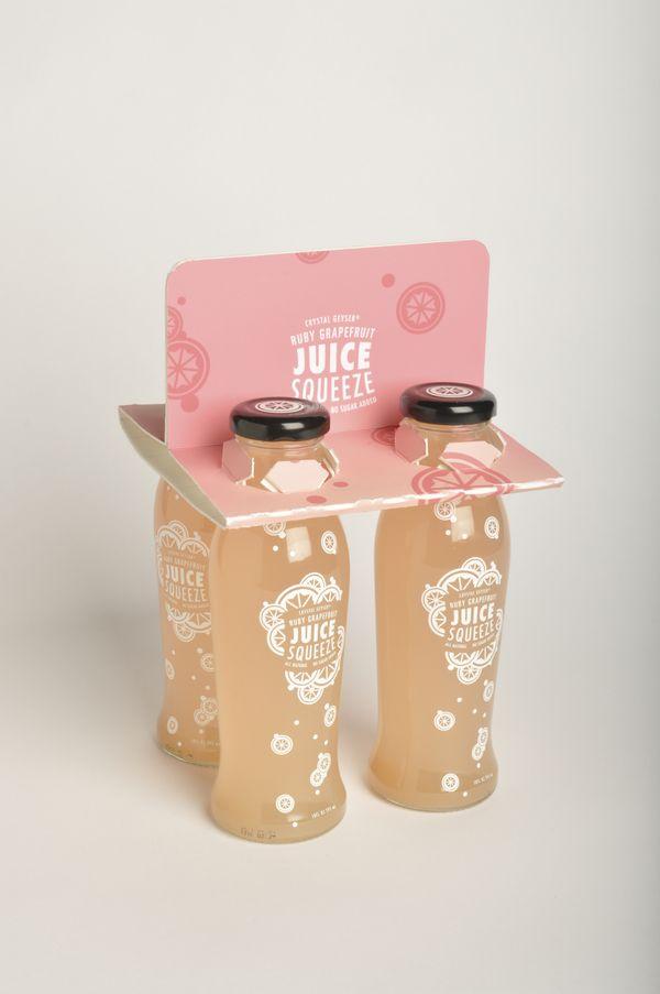 Beverage Re-Design: Juice Squeeze by Sara Stanger, via Behance: Packaging Drink, Beverages Re Design, Sara Stanger, Beverages Redesign, Bottle Packaging, Graphics Design, Juice Squeeze, Beverages Packaging Design, Pretty Packaging
