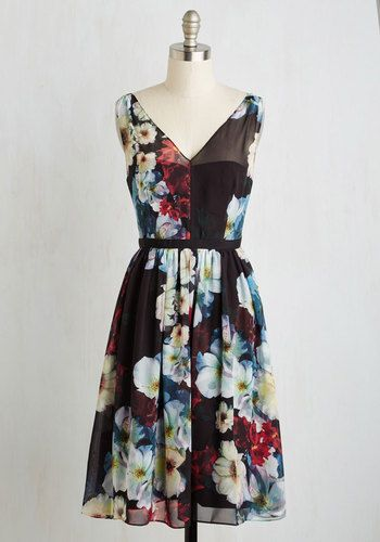 Fly Me to the Honeymoon Dress. When traveling to a romantic tropical destination with your beau in this gorgeous floral A-line, your mood is already set to island time! #multi #modcloth