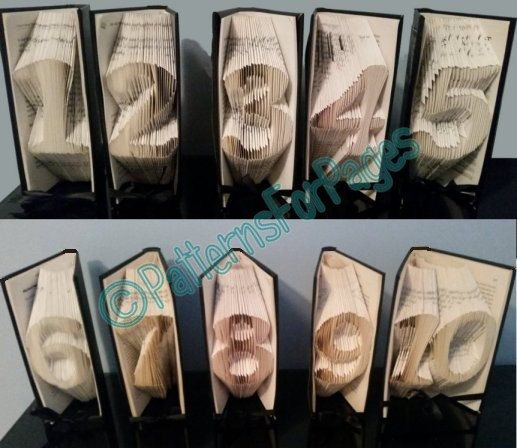 Book folding pattern for TABLE NUMBERS 1 to 10 (11 to 20 listed seperately) by PatternsForPages on Etsy