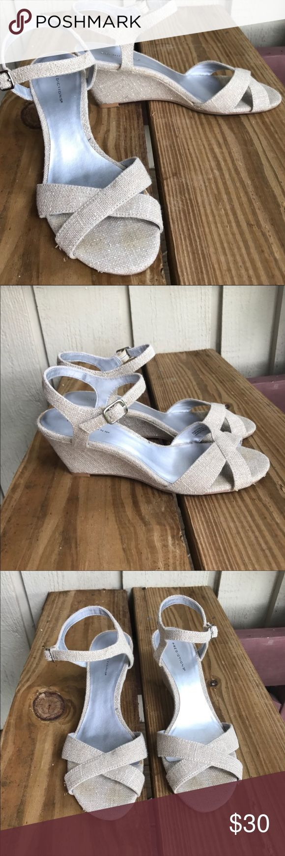 "Glitter cream wedge sandals Sz 9 predictions Glitter cream wedge heel shoes. Predictions brand. Size 9. Worn only once or twice. GUC. Little dirt mark at left heel. Wedge measures approximately 3."" Shoes Sandals"
