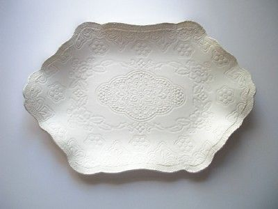Grandma's  Victorian Satin Cream  Platter by CatsPawPottery, $28.00  Here's a way to look like you spent a FORTUNE on a gift!!!!!!!