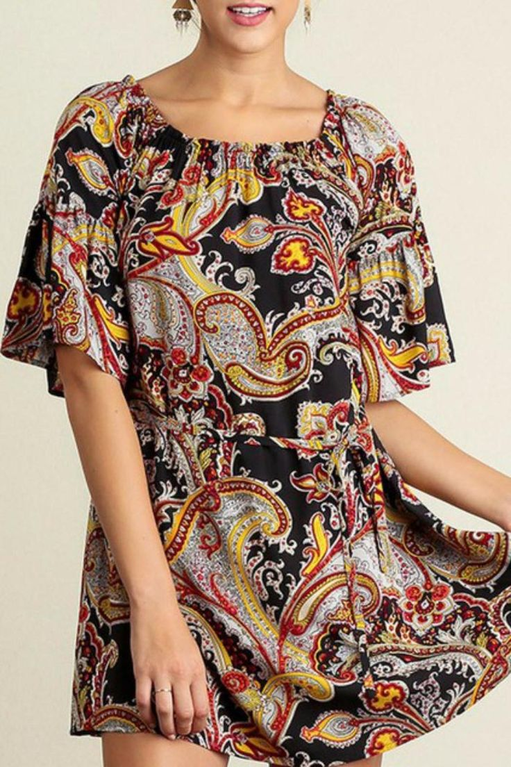 Beautiful black background with red and yellow paisley print. Short sleeve with tie waist. Can be worn on or off shoulder as a dress or a tunic paired with leggings. Paisley Print Dress by Umgee USA. Clothing - Dresses - Printed Tennessee