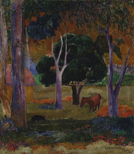 This painting was to be one of the last, if not the last, for Paul Gauguin.  He left the art world of Paris for the French Polynesian islands in 1891.  In 19...