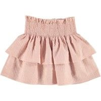 LOUIS LOUISE Hello Skirt in pink. Double tiered skirt with smocked elasticated waistband from LITTLECIRCLE Spring Summer 2016 Girls Collection. Shop now: littlecircle.co.uk