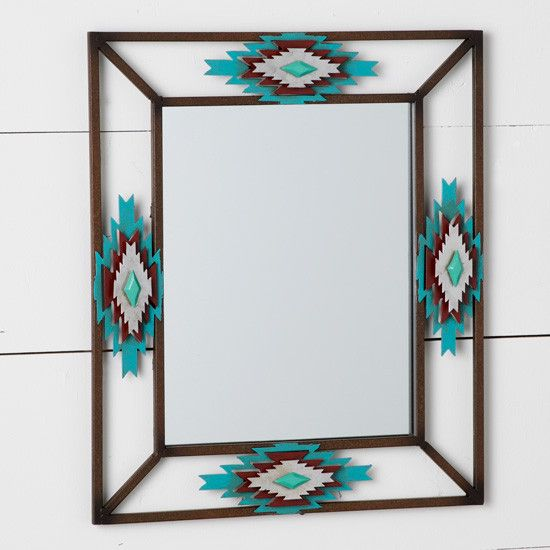 Apache Aztec Mirror- Classic turquoise, rust, and cream work together in this metal diamond-accented mirror.
