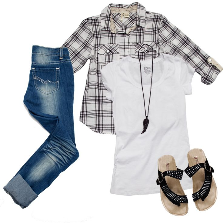 You can't go wrong with layering a plaid top with denim and a plain, white tee! #Gordmans #MyGordmansStyle