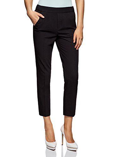 oodji Ultra Mujer Pantalones Ajustados con Cintura Elástica  7f74292624be