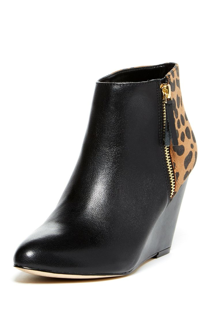 Dolce Vita Gino Wedge Bootie with the cutest leopard panel in the back! $62