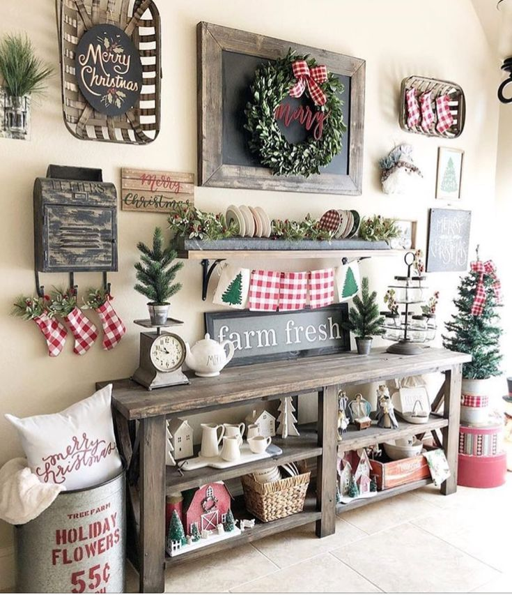 Love the wreath/merry on the board and the sign over the tobacco basket (could be a wreath)