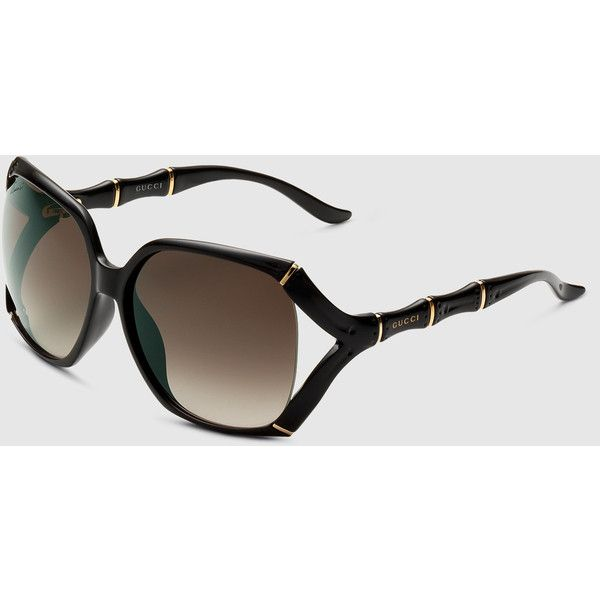 Gucci Large Rectangle Frame Sunglasses With Bamboo Effect With Gucci... ($370) ❤ liked on Polyvore featuring accessories, eyewear, sunglasses, black, square & rectangle, women's sunglasses, gucci sunglasses, bamboo sunglasses, rectangular sunglasses and square lens sunglasses