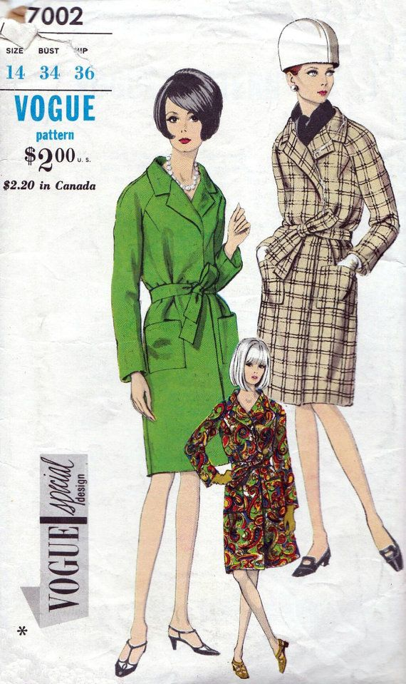 60s Vogue sewing patterns 7002, vogue special design, coat sewing ...