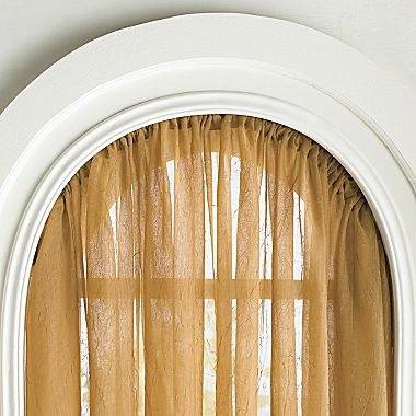 Arched windows curtain rods and arches on pinterest for Window treatment for oval window