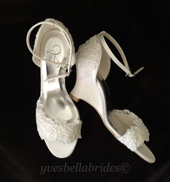 Alencon Lace 3 inch Wedge Heel Wedding Shoes  by YvesBellaBrides