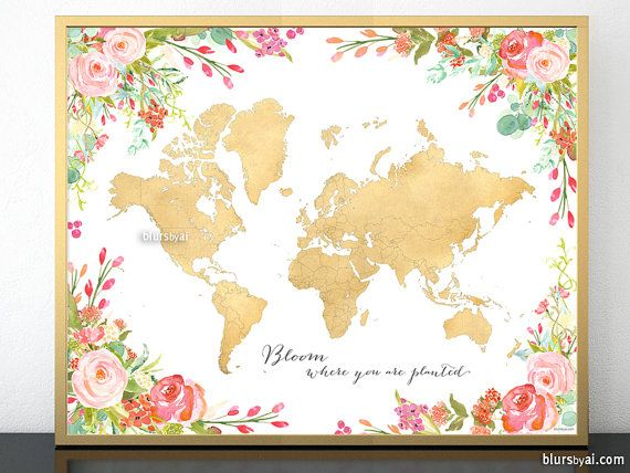 """10x8"""" 20x16"""" Printable world map in faux gold foil, map with states outlined, floral world map, inspirational quote, spring decor map057 001"""