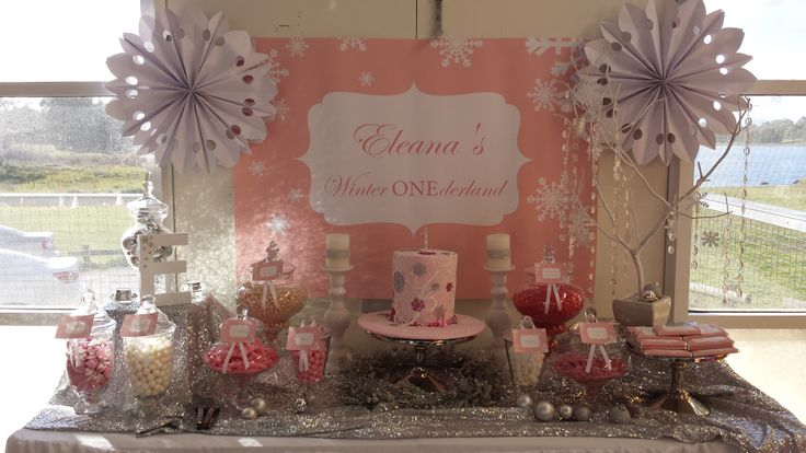 Eleana's Winter ONEderland Candy Buffet By Platinum Invitations  Candy Buffets